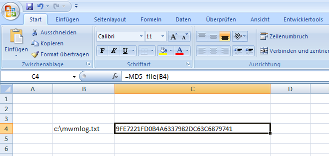 MD5 in Excel